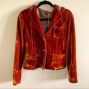 Hooded Orange Velvet Short Jacket/Blazer